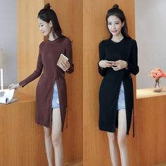 Awesome 2016 Korean Long Fashion Woman Winter Long Sleeve Slit Round Collar Solid Dress 2017-2018 Check more at http://24shopping.tk/product/2016-korean-long-fashion-woman-winter-long-sleeve-slit-round-collar-solid-dress-2017-2018/