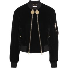 Givenchy Velvet bomber jacket (8.210 RON) ❤ liked on Polyvore featuring outerwear, jackets, black, bomber jackets, coats, bomber style jacket, style bomber jacket, zip jacket, givenchy and givenchy jacket