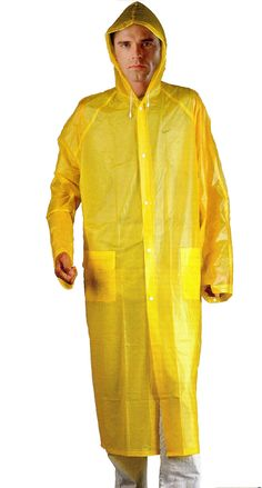 0b9b2389 Wealers Adult Portable Lightweight PVC Long Size Hooded Raincoat, Reusable  Rainwear, with Pockets and a Carry Bag (Yellow, Medium - Length: 44 inches)