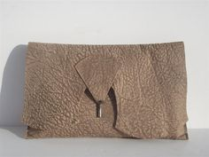 SALE Raw edge leather clutch purse with vintage by coteriedesign