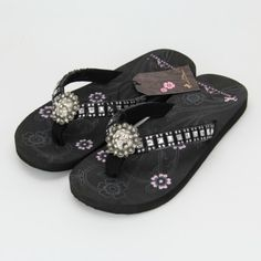 fc5a7aa7bb2f2 Montana West Flower Concho Flip Flops