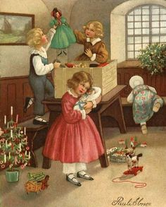 Pauli Ebner (1873 – 1949, Austrian) Just look at that sweet little Christmas tree. I just love the detail that Ebner always gives us.