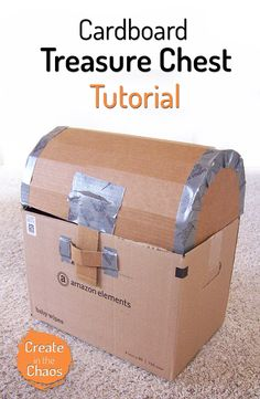 Cardboard pirate treasure chest tutorial - perfect for party decor! www.createinthechaos.com