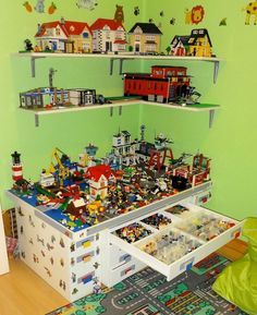 Shelves and Lego table made my husband for my son& room. In addition to the - Lego - Lego Display, Legos, Lego Storage Drawers, Toy Storage, Lego Toys, Lego Lego, Lego Minecraft, Lego Batman, Minecraft Buildings