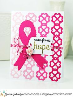 Jeanne created this for the Calling All Sistahs monthly bloghop on the17th of each month. We hop to remind you all to do your self breast exams because early detection saves lives. She used Hope Ribbon stamps and Ruffled Ribbon Fri-Die set. 50% of the profits from this stamps are donated to breast cancer research and awareness programs. www.cas-ualfridaysstamps.com #casfridays #callingallsistahs #breastcancerawareness
