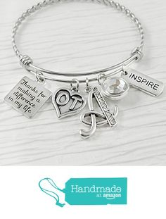 Occupational Therapist Gifts, Bangle Bracelet, Thank you for making a difference in my life, Inspire, Expandable Bangle, Initial Letter charm from Sugar Tree and Company http://www.amazon.com/dp/B01EBX5IX0/ref=hnd_sw_r_pi_dp_v1rpxb17W290D #handmadeatamazon