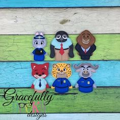 Zoo Finger Puppet SET Embroidery Design - 4x4 Hoop or Larger