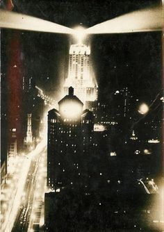 Looking north on Michigan Ave at the Allerton Hotel and the Palmolive Building, 1930, Chicago.