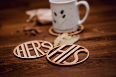 HIS-HERS-Wooden Coaster for glass-for couple-set-wedding-laser & Wooden Coasters, Couple, Unique Jewelry, Glass, Handmade Gifts, Wedding, Etsy, Vintage, Kid Craft Gifts