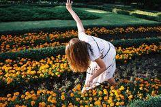 flowers girl yellow orange garden