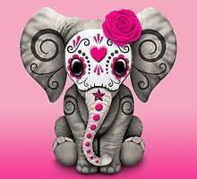 """""""Pink Day of the Dead Sugar Skull Baby Elephant"""" Art Prints by jeff bartels Red Day, Pink Day, Elephant Love, Elephant Art, Elephant Design, Elephant Shower, Los Muertos Tattoo, Candy Skulls, Sugar Skulls"""