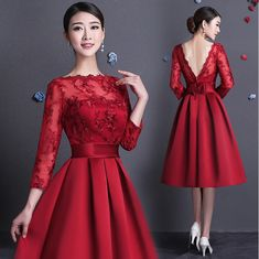 illusion neckline lace vintage dark red satin bridesmaid special occasion party dresses bridesmade dress with sleeves W2868