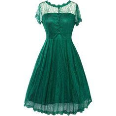 Vintage A Line Lace Dress ($19) ❤ liked on Polyvore featuring dresses, lacy dress, blue dress, vintage dresses, vintage cocktail dresses and a-line cocktail dresses
