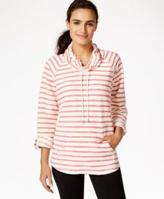 Style & Co. Sport Striped Cowl-Neck Top, Only at Macy's