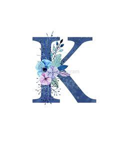Monogram K Icy Winter Bouquet by floralmonogram - Dekoration Monogram Wallpaper, Alphabet Wallpaper, K Wallpaper, Cool Lettering, Hand Lettering, Letter K Design, Triangle Art, Winter Bouquet, Alphabet And Numbers