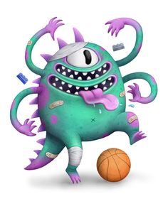 Digital illustrations of monsters for an upcoming line of kids products.