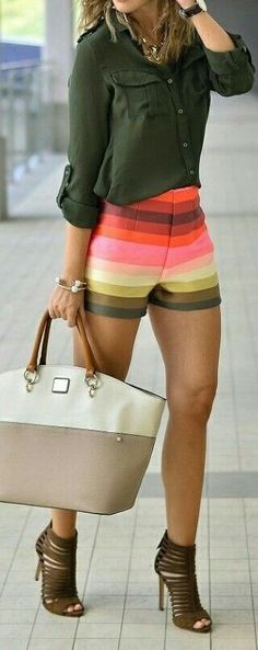 #summer #fashion / olive + rainbow