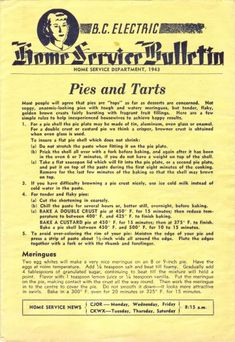 Home Service Bulletin, by: B.C. Electric, Home Service Department (1943) | WarTime Canada