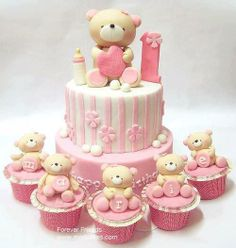 Adorable pink and white teddy bear cakes and cupcakes Baby Cakes, Girl Cakes, Cupcake Cakes, Bear Cupcakes, Torta Baby Shower, Bolo Fondant, Rodjendanske Torte, Teddy Bear Cakes, Teddy Bears