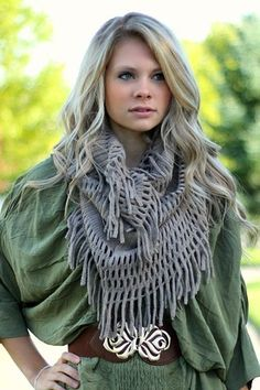 Taupe Fringe Infinity Scarf over belted dolman tunic Nanamacs Boutique, Fringe Scarf, Great Women, Playing Dress Up, Get Dressed, Taupe, Infinity, Winter Fashion, Scarves