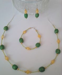 Lemon and Lime 3 piece necklace, bracelet and earring set. - The Supermums Craft Fair Craft Fairs, Earring Set, 3 Piece, Lemon, Beaded Necklace, Jewelry Making, Jewellery, Bracelets, How To Make