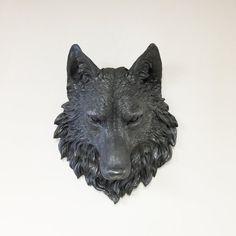 Faux Taxidermy Decor // Full Size Wolf Head Wall Mount //  by KINGFOUR www.etsy.com/shop/kingfour
