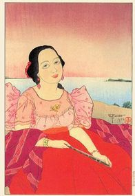 """Paul Jacoulet, Chamorro Woman """"Red"""" 1934"""