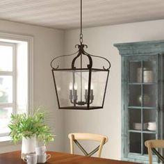 Darby Home Co Granton Lantern Pendant Finish: Blacksmith Lanterns, Lantern Lights, Black Chandelier, Lantern Pendant, Rectangle Chandelier, Chandelier, Farmhouse Pendant Lighting, Traditional Chandelier, Oak Console Table