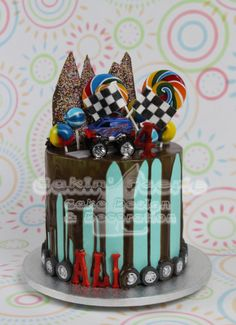 Monster Truck drip cake for Ali's 4th  - Cake by Suzanne Readman - Cakin' Faerie