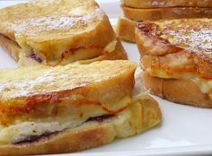 The perfect way to use that turkey, Leftover Turkey-Cranberry Monte Cristo Sandwiches, I'd use the hot pepper jelly! Thanksgiving Recipes, Fall Recipes, Holiday Recipes, Thanksgiving Leftovers, Turkey Leftovers, Yummy Recipes, Hosting Thanksgiving, Holiday Ideas, Monte Cristo Sandwich