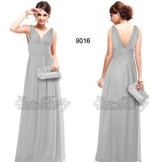 Baby Grays Diamante Chiffon V-neck Long Bridesmaid Dress