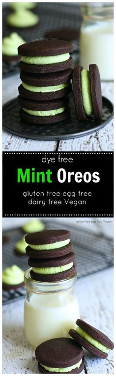 Mint Oreos (gluten free Vegan egg free)- Chocolate mint cookies colored with just a touch of spinach. gluten free, dairy free, Vegan. Made Just Right. Plant Based. Earth Balance.