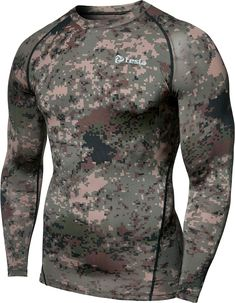 Tesla Mens Long Sleeve T-Shirt Baselayer Cool Dry Compression Top Skins Clothing, Men's Clothing, Fitness Clothing, Clothing Styles, Christmas Tee Shirts, Tactical Clothing, Workout Shirts, Long Sleeve Shirts, Sleeves