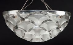 R. LALIQUE CLEAR AND FROSTED GLASS RINCEAUX CHANDELIER .Circa 1926. Wheel carved: R. LALIQUE, FRANCE.