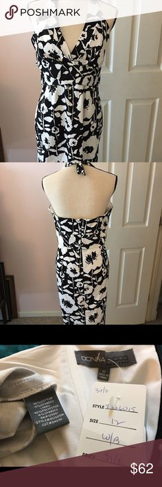 """Beautiful Donna Ricco halter dress NWT black/white print. Cotton spandex blend, perfect for the end of summer days & nights! I'm 5'7"""" and this hits me just below the knees. Donna Ricco Dresses Midi"""