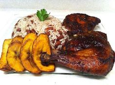 Ja dinner - Rice and peas, plaintain and yummy chicken