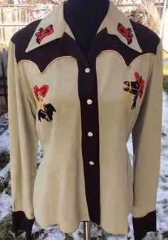 Vintage 1940s Womens Sz S Gabardine Embroidered Western Shirt Sigmund Eck Denver #SigmundEckAnIdleHourCasual