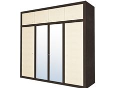 The dark brown color underlines straight lines of this Kapri wardrobe and 2 mirrors in the middle reflect the sunlight, making your bedroom look bigger.
