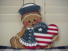 HP~~Gingerbread Patriotic 4th of JULY America Heart ~~ Fridge Magnet