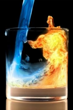 3d iphone wallpapers background lock screens - water n fire being poured into a drinking glass