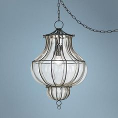 "Centinela Lantern 12"" Wide Glass Plug-In Swag Chandelier"