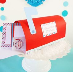 Paper North Pole mail box for all those Santa letters  More crafty ideas on this party at Blog.BirdsParty.com . . . #twitter #party #partysupplies #partyideas #creativemom #mom #diy #festa #bhgcelebrate #abmlifeiscolorful #realsimple #rslove #sweet #followme #festas #fiesta #festainfantil #noel #natal #santa #northpole #diy #fetes #sweettables