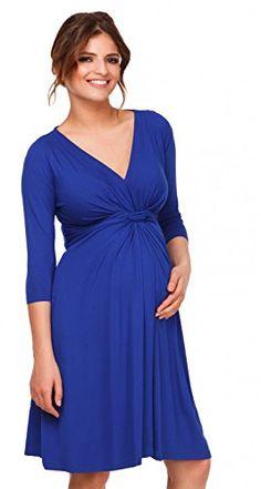 db23fa5810be Vestito svasato prémaman maternità - Nodo - Abito a pieghe - Happy Mama -  786p Blu Royal - IT 50 52 - 3XL