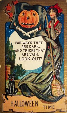 Vintage Halloween Poster Made From Circa 1910 Postcard Sexy Vain Witch 18 Halloween Retro, Vintage Halloween Posters, Victorian Halloween, Halloween Make, Halloween Snacks, Holidays Halloween, Halloween Ideas, Paper Halloween, Pirate Halloween
