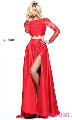 Two Piece Sherri Hill Prom Dress with Long Sleeves at PromGirl.com