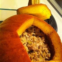 The perfect one-dish meal to close out October:  A beautiful sugar pumpkin, stuffed with a savory blend of venison, sage, wild rice, onion and mustard.  If you can't get venison, bison would be a great alternative.  http://allrecipes.com/Recipe/Stuffed-Pumpkin-I/Detail.aspx