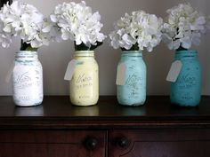 The original painted and distressed shabby chic mason jars © by BeachBlues