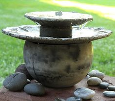 art studio: Parts and pieces of concrete equal a table top fou...