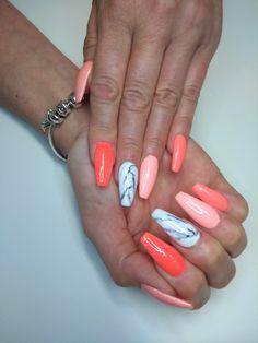 Orange marble acrylic nail design