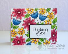 Thinking of You - Her card Jane's Doodle Stamp set, Doodle Flowers